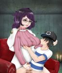 aether_foundation big_breasts bottomless breast_grab breast_hold breast_sucking breasts censored chair glasses green_eyes handjob pokemon pokemon_(game) pokemon_sm sun_(pokemon) sun_(trainer) wicke
