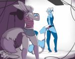 anthro ass bulge camera canine captainchaos clothed clothing crossdressing duo fennec fox furry male mammal panties red_panda smile standing underwear