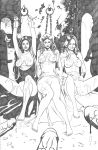 arwen arwen_undomiel bound breasts clothed cum cum_on_body cum_on_breasts cum_on_face dress dress_lift elf eowyn galadriel human lord_of_the_rings monochrome penis shackles
