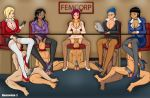1girl 5boys 5girls anal bondage cfnm edging femdom footjob forced group hetero male malesub multiple_boys multiple_girls multiple_subs neocorona nude office_lady table testicle uncensored