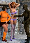 3d breasts daphne_blake high_heels nipples panties scooby-doo stockings velma_dinkley