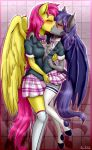1girl 2017 absurd_res anibaruthecat anthro areola bat_pony bat_wings blush border breast_squish breasts breasts_frottage closed_eyes clothed clothing duo dusk_rhine equine fan_character feathered_wings feathers female/female fingering furry hair hand_in_panties hand_in_underwear high_res inner_ear_fluff legwear mammal membranous_wings my_little_pony nipples open_mouth panties pegasus pink_hair pink_tail purple_hair purple_tail raised_shirt raised_skirt school_uniform skirt stockings stockings underwear uniform vaginal wings yellow_feathers