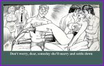 2_females 2_girls 4_boys 4_males 6_humans bed bedroom being_watched black_&_white black_hair blonde blonde_hair breasts caught clothed dialogue drawing english_text female female_human hair hairy_chest human human/human human_only indoors long_hair lying male male/female male_human multiple_boys multiple_girls multiple_humans nipples parents short_hair sitting standing stockings text topless
