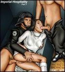 a_new_hope anal anal_penetration boots bottomless breast_grab breasts dress dress_lift fellatio from_behind no_panties oral penis princess_leia_organa pussy sex shabby_blue star_wars threesome
