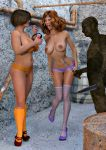 3d ass bra breasts daphne_blake high_heels nipples panties scooby-doo socks stockings thighs velma_dinkley