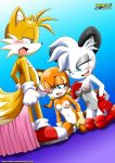 "1boy 2girls female male marine_the_raccoon miles_""tails""_prower mobius_unleashed multiple_tails penis tail"