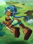 ass blue_hair breasts clothing daggers elf empty_eyes female green_skin grimphantom grimphantom_(artist) hair heart humanoid not_furry one_eye_closed ponytail skylanders solo stealth_elf tight_clothing wink