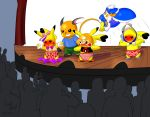 1girl audience avionscreator clothed clothed_male_nude_female clothing degradation embarrassed enf exposed food forced_nudity fruit fully_clothed group humiliation male mammal mouse nintendo panties pantsing pikachu pink_panties pokémon public_humiliation raichu rodent silly strawberries_panties strawberries_print strawberry topless underwear video_games