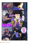 2016 5_fingers angry anthro arm_support bk black_hair black_nose border bracelet brown_fur candy_bar canine chair clancy_(tokifuji) clenched_teeth clothed clothing comic countershading cover cover_page dialogue digital_media_(artwork) dog duo english_text evil_grin feline fully_clothed fur furry german_shepherd grey_hair grin hair hand_on_chin hand_on_shoulder high_res humanoid_hands inner_ear_fluff inside jewelry laugh leaning_on_elbow male mammal monitor object_in_mouth office open_mouth orange_fur pants patreon pink_nose purple_stripes security sharp_teeth shirt short_hair shoulder_grab sitting size_difference smile sneakers sneaking sound_effects speech_bubble standing startled stripes surprise teeth text throwing tiger tiger_stripes tokifuji uniform url white_border white_fur wide_eyed xd yellow_fur