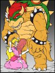 1girl 4_fingers anthro big_dom_small_sub big_penis blue_eyes bowser claws clothing crown digital_media_(artwork) drooling erection forced high_res human human_on_anthro humanoid imminent_rape interspecies koopa male male/female mammal mario_bros nintendo nipple_bulge nude one_eye_closed open_mouth overalls penis precum princess_peach rape red_eyes reptile rn royalty saliva scalie size_difference sparrow_(artist) testicles vein veiny_penis video_games