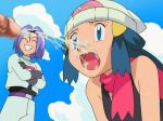 cum cum_in_mouth cum_on_face cumshot dawn embarrassed facial grin hikari_(pokemon) humiliated james kojirou_(pokemon) mouth_open nervous open_mouth penis pokemon pokemon_(anime) pokemon_dppt smile team_rocket