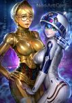 2_girls android aqua_eyes ass big_breasts blonde_hair blue_hair blue_lipstick breasts brown_eyes c-3po earrings glasses hand_on_hip helmet hips jewelry lips lipstick looking_at_viewer looking_back makeup multiple_girls nudtawut_thongmai pale_skin personification r2-d2 round_glasses short_hair smile star_wars yellow_eyes