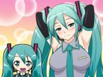 arms_behind_back arms_behind_head big_breasts blush breasts chibi hands_behind_back hands_behind_head hatsune_miku looking_at_viewer miku_hatsune smile vocaloid