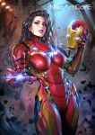 1girl 1girl arc_reactor arm_cannon armor artist_name avengers big_breasts black_hair bodysuit breasts contrapposto cowboy_shot debris destruction ear_studs earrings eyeshadow foreshortening genderswap genderswap_(mtf) glowing glowing_eyes hand_up headwear_removed helmet helmet_removed hips holding holding_helmet iron_man jewelry light_rays lights lips lipstick long_hair looking_at_viewer makeup marvel neon_trim nudtawut_thongmai outstretched_hand parted_lips power_suit red_eyes rock serious standing stud_earrings watermark weapon web_address