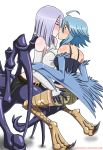 2girls arachne closed_eyes harpy interspecies kissing light_blue_hair looking_at_another love monster_girl monster_musume_no_iru_nichijou multiple_girls papi_(monster_musume) porosnacks porosnacks_(artist) rachnera_arachnera short_hair silver_hair spider_girl surprised tagme wings yuri