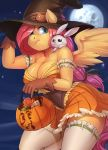 1girl absurd_res ambiguous_gender angel_(mlp) anthro anthrofied audrarius big_breasts breasts candy cleavage clothed clothing duo equine feathered_wings feathers feral fluttershy_(mlp) food friendship_is_magic full_moon furry gloves hair halloween hat high_res holding_object holidays lagomorph legwear long_hair mammal moon my_little_pony navel outside pegasus rabbit wings witch_hat
