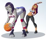 ass basketball big_ass big_breasts breasts cleavage dc raven ravenravenraven starfire stretching teen_titans yuri