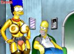 big_breasts big_nipples homer_simpson marge_simpson panties parodix shaved_pussy stockings the_simpsons