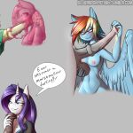 1girl 2017 animal_genitalia animal_penis anthro anthrofied areola balls blush breasts clothed clothing cum dialogue disembodied_penis english_text equine equine_penis feathered_wings feathers friendship_is_magic furry goo grin hair half-closed_eyes high_res horn long_hair male male/female mammal multicolored_hair my_little_pony nipples nude oral pegasus penis purple_hair rainbow_dash_(mlp) rainbow_hair rarity_(mlp) sex silverfox057 simple_background text unicorn vein wings
