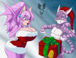 1girl anthro ass bat bessi_the_bat big_ass big_breasts breasts bulge cat cheshire_thaddeus_felonious christmas clothing dick_in_a_box dress duo fan_character feline furry gift grin hat holidays huge_breasts lipstick makeup male mammal nipples nude sabela_(artist) sega slim surprise wide_hips wings
