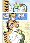 ♀ 1girl anthro blush breasts closed_eyes comic dreamworks feline female/female furry interspecies kissing kung_fu_panda mammal master_tigress master_viper nipples reptile scalie snake sweat tiger zenmigawa