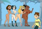 big_ass big_breasts blonde_hair breasts bridgette brunette_hair cody courtney dark_skin dat_ass erection gwen leshawna nano_baz nipples total_drama_island