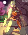 1girl 1girl anthro avian big_breasts bird blush breasts chica_(fnaf) chicken chinese_clothing chinese_dress cleavage clothed clothing dress five_nights_at_freddy's furry keyhole_turtleneck non-mammal_breasts panties presenting pussy pussy_juice spunkubus sweater underwear video_games year_of_the_rooster
