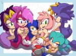 amy_rose anthro bernadette_hedgehog breasts breezie_the_hedgehog furry hedgehog incest mammal penis queen_aleena sega simple_background sonia_the_hedgehog sonic_the_hedgehog the_other_half tongue tongue_out