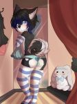 1girl anthro ass black_fur black_hair blue_eyes blue_fur blush bulge canine caught claralaine clothed clothing crossdressing digital_media_(artwork) dog fitting_room fur furry girly hair high_res husky inside kino_strife legwear looking_at_viewer looking_back male mammal mirror multicolored_fur multicolored_hair panties plushie socks standing stockings striped_armwear striped_footwear striped_legwear stripes thigh_socks toeless_socks two_tone_fur two_tone_hair underwear white_fur