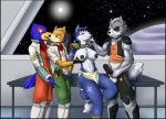1girl anthro avian balls bisexual canine clothing erection falco_lombardi fox fox_mccloud furry immelmann kissing krystal male male/female male/male mammal nintendo nipples pants penis star_fox video_games wolf wolf_o'donnell