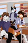 alex_(cainesart) anal anal_penetration anthro black_fur black_hair blue_eyes bovine brown_fur brown_hair caiden_coldthorn cainesart cervine classroom clothed clothing crossdressing deer eddy_(cainesart) eyewear fellatio fur furry girly glasses hair heterochromia high_res legwear male male/male mammal oral penetration penis school school_uniform sex sibling tai_(cainesart) teen twins underwear underwear_aside uniform white_fur yellow_eyes
