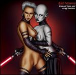 2girls asajj_ventress breasts komari_vosa lightsaber lightsabers mostly_nude pussy shabby_blue star_wars