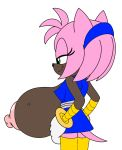 1girl 1girl 2014 amy_rose anthro areola big_breasts breasts clothed clothing daredemon7000 erect_nipples flashing fur hedgehog huge_breasts mammal nipples partially_clothed pink_fur sega