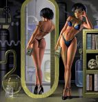 ami_mizuno ass bishoujo_senshi_sailor_moon bra breasts glasses high_heels mirror panties sailor_mercury tiara