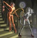 ass bishoujo_senshi_sailor_moon bra breasts castor covering_breasts gemini_warriors high_heels monster_of_the_day panties panties_pull pollux tail youma