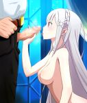 1boy 1girl after_sex aftersex big_breasts blush braid breasts breath bukkake clavicle clothed_male_nude_female cmnf crown_braid elf emilia_(re:zero) erection facial fellatio hair_ornament handjob high_resolution huyase imminent_fellatio imminent_handjob long_hair looking_at_another nipples penis pointed_ears purple_eyes re:zero re:zero_kara_hajimeru_isekai_seikatsu semen semen_on_body semen_on_breasts semen_on_hair semen_on_upper_body shiny shiny_hair shiny_skin silver_hair tied_hair uncensored window