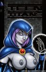breasts comic_cover cover dc dc_comics garrett_blair garrett_blair_(artist) grey_skin looking_at_viewer nipples purple_hair raven superhero teen_titans violet_eyes