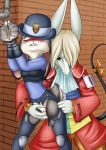 1girl 2017 anthro biting_lip blonde_hair blue_eyes blush breasts brown_fur buckteeth burmecian claws clitoris closed_eyes clothed clothing coat crossover disney duo female/female final_fantasy final_fantasy_ix fingering freya_crescent fur furry grey_fur hair handcuffs hat judy_hopps lagomorph mammal mancoin pipe police_uniform pussy pussy_juice rabbit rodent shackles square_enix teeth torn_clothing uniform vaginal vaginal_fingering video_games zootopia