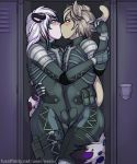 anthro arm_around_waist blush bulge clothing feline frottage furry holding_arm kissing konami leopard locker male male/male mammal metal_gear ner0 sex skinsuit snow_leopard tight_clothing uniform video_games