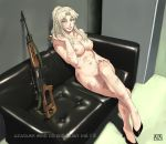 1_female 1_girl 1_human areola azasuke balalaika_(black_lagoon) black_lagoon blonde_hair breasts bullpup cigar couch dragunov_svd earrings feet female female_human female_only green_eyes gun hair high_heels high_res human human_only indoors jewelry legs legs_crossed long_hair looking_at_viewer nail_polish navel nipples nude ponytail rifle sitting smile sniper_rifle solo suppressor thighs weapon