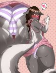 1girl 2017 5_fingers anthro ass blush breasts brown_eyes brown_hair cameltoe close-up clothing crystalsugahttps://e621.net/post/index/5rstars_(artist) cute eyelashes fluffy_(artist) fluffy_tail fur furry grey_fur hair heart looking_back low-angle_view mammal multicolored_fur open_mouth panties pink_nose rear_view shy sideboob skunk speech_bubble standing thick_thighs thigh_gap underwear virgin_killer_sweater white_fur