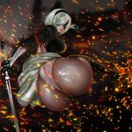 1girl android ass big_breasts black_dress black_legwear black_shoes blindfold boots breasts closed_mouth covered_eyes dress from_behind grenodeur hairband hand_up high_heel_boots high_heels high_res holding holding_sword holding_weapon huge_ass juliet_sleeves katana kneel legs_apart leotard lipstick long_sleeves looking_at_viewer looking_back makeup nier:_automata nier_(series) open-back_dress pink_lips pink_lipstick pov_ass puffy_sleeves shoes short_hair silver_hair stockings sword tassel thigh_high_boots thong_leotard turtleneck vambraces weapon white_leotard yorha_no._2_type_b yorha_unit_no._2_type_b