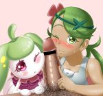 ;) bar_censor blush dark-skinned_female dark-skinned_female dark_skin double_fellatio fellatio fingernails flower green_eyes green_hair hair_flower heart heart-shaped_pupils heart_eyes licking licking_penis long_hair looking_at_viewer mallow mallow_(pokemon) mao_(pokemon) node_blush one_eye_closed penis point pointing poke pokemon pokemon_sm poking steenee symbol-shaped_pupils teamwork threesome twin_tails wink