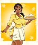 big_breasts breasts disney food looking_at_viewer princess_tiana sonson-sensei_(artist) the_princess_and_the_frog waitress