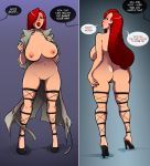 ass big_ass big_breasts breasts dat_ass disney erect_nipples female green_eyes jessica_rabbit looking_at_viewer looking_back nipples nude pussy red_hair solo sparrow speech_bubble text who_framed_roger_rabbit