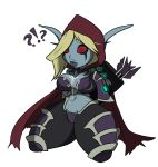 1girl 1girl armor arrow big_breasts blue_skin breasts cloak clothed clothing cum hand_on_breast high_elf hood humanoid kneel red_eyes skull sylvanas_windrunner thick_thighs undead unknown_artist video_games warcraft