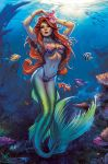 belly breasts disney elias-chatzoudis_(artist) fish princess_ariel red_hair the_little_mermaid