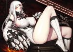 1girl 1girl blush boots breasts claws detached_sleeves dress erect_nipples evan_yang horn huge_breasts kantai_collection knee_boots long_hair looking_at_viewer no_bra pale_skin red_eyes ribbed_dress seaport_hime shinkaisei-kan short_dress sideboob simple_background smile thick_thighs thighs torn_clothes white_boots white_hair