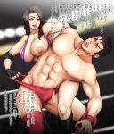 1boy 1girl big_breasts breasts brown_hair cum cum_in_clothes cum_through_clothes ejaculation erection femdom fingerless_gloves gloves handsfree_ejaculation long_hair makya muscle nipples penis translated wrestling wrestling_ring yellow_eyes