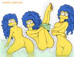 1girl anus ass breasts fluffy_(artist) marge_simpson milf presenting pussy the_simpsons wet wet_hair